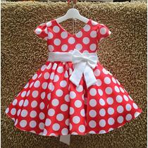 Vestido Criança Minie Daminha Vintage Princesa Bolinhas