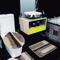 Jogo De Tapete Para Banheiro 3 Peças Riviera Bastão Jolitex