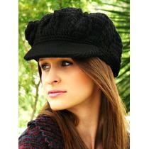 Boina Feminina De Crochê Em Lã Com Aba