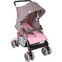 Carrinho De Bebe Tithus Cinza Com Rosa Tutti Baby