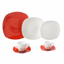 Aparelho De Jantar Porcelana Quadrado Vermelho 42pcs L 8005