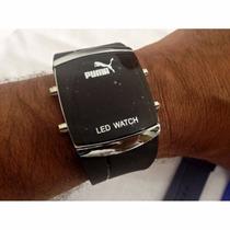 Puma Relógios Led Digital Com Pulseira Macia Silicone
