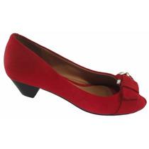 Sapato Peep Toe Vizzano Fivela Salto 3 Cm - 1802101