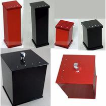 Kit Potes P/ Banheiro Acrílico Preto E Cereja_personalizado