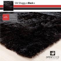 Tapete Silk Shaggy Fio Seda : Preto, Sob Medida : 1,00x1,50m