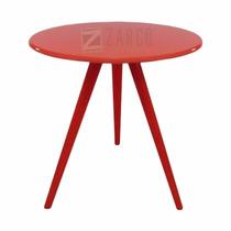 Mesa Decorativa Laqueada Madeira Tripé Pé Palito Vermelha