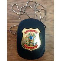Distintivo Justiça Federal - Couro - Preto -não É De Policia