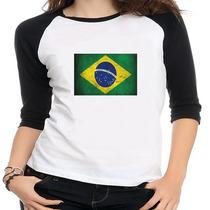 Camiseta Raglan Bandeira Brasil - Feminina