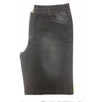 Bermuda Masculina Jeans Dark Blue Plus Size Pequeno Defeito