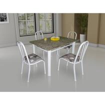 Conjunto De Mesa Movita Tampo Em Granito 4 Cadeiras Branco