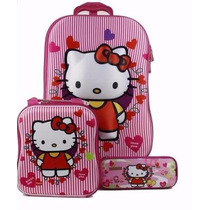 Kit Mochila Mochilete Inf 3d Hello Kitty + Lancheira +estojo