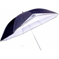 Sombrinha Reversível Rebatedora Prata / Preto / Branco 88cm