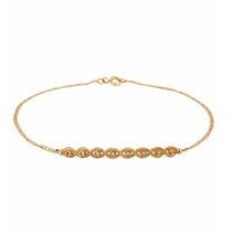 Pulseira Piastrine Com Tranças Em Ouro 18k C/ Diamantes-pl38
