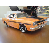 Carro Mini Escala 1:24 Plymouth Gtx 1970 Laranja E Verde