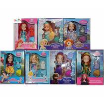 Kit 7 Bonecas As Princesas Disney Junior + Mascotes