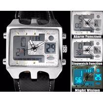Relógio Pulso Ohsen Led Xmas Sport Black Digital Anal Branco
