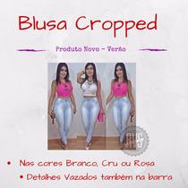 Top Cropped Mini Blusa Panicat Croche - Pronta Entrega