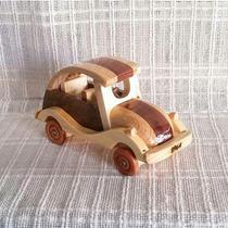 Carrinho De Madeira Artesanal Fusca Em Miniatura