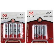 Kit Com 8 Pilha Recaregável Mox Aaa + Aa