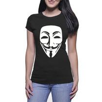 Camisa Feminina Anonymous - Baby Look - Preto