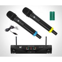 Microfone S/fio Duplo Tsi Ud-1500r-uhf Recarregavel