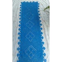 Tapete Passadeira De Barbante Barroco Cor Azul 1,80x0,60 Cm