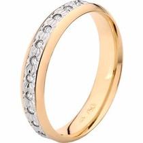Aliança Casamento Quadrada Slin Ouro 18k C Diamante Dourado