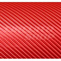 Adesivo Envelopamento Carro Moto Fibra Carbono Vermelha 1x2m