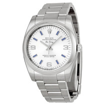 Relogio Rolex Airking Silver Arabic Blue Index 114200sablso