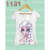 Camiseta Tshirt Feminina Princesa Elsa Frozen Caveira Linda