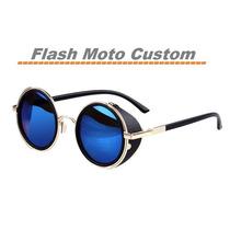 Óculos De Sol Redondo Lentes Espelhadas Vintage Steapunk