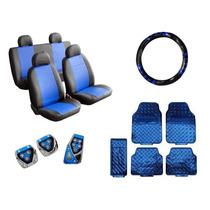 Kit Capa De Courvin Volante Pedaleira Tapetes 5 Peça Azul