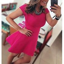 Vestido Feminino Rodado Curto Cintura Marcada Princesa