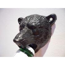 Abridor Garrafa De Parede Urso Em Ferro Fundido