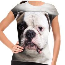 Camiseta Cachorro Bulldog Americano Baby Look