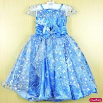 Vestido Festa Infantil Frozen Luxo Com Tiara
