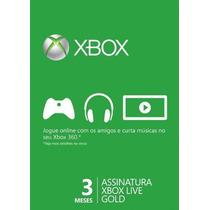 Xbox Live Gold Cartão 3 Meses Conta Americana E Brasileira X
