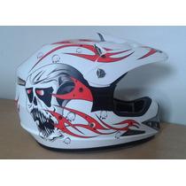 Capacete Mrc Helmet Branco Com Viseira Tamanho: S 54-56
