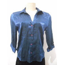 Blusa Azul Com Brilho Manga Comprida Tam M Usado Bom Estado