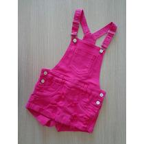 Jardineira 2in Short Saia Infantil Jeans Pink