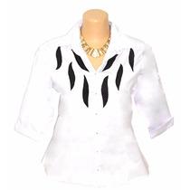 Camisa Social Feminina Camisete Plus Size 3/4 Dudalinda Flor