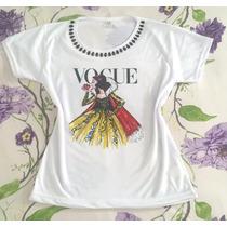 Tshirt Customizada Com Pedrarias Branca De Neve