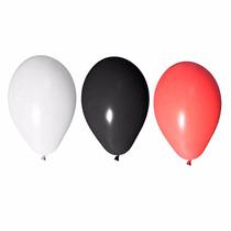 Balão Art-latex Nº7- Bexiga Festa Branco Vermelho Preto 300u