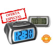 2916 - Relógio Despertador Digital Led Azul Luz Herweg