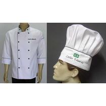 Kit Doma Chef+chapeu Toque C/bordado Gastronomia,cozinheiro