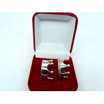 Par De Aliança Coroa Luxo De Pratas Com Zirconias