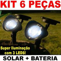 Luminária Solar Jardim Spot C/ 3 Lampadas Leds (kit 6 Peças)