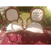 Poltronas Cadeiras Antigas Medalhão Na Cor Mogno