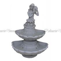 Escultura Fonte Concha Dupla Esculpida À Mão Pó De Marmore