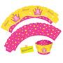 Porta Cupcake Saia Wrapper Coroa Princesa - Festa Reino 12u